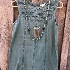 Garnet Hill $78 crochet lace gauze tunic tank teal